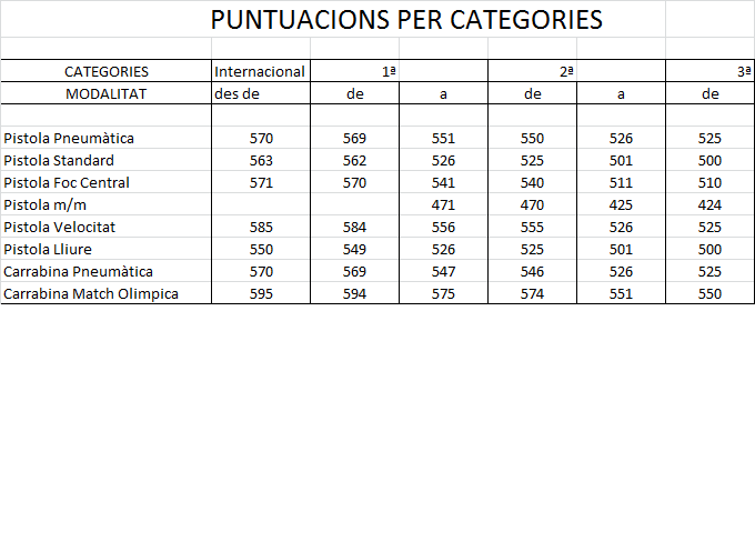 Puntuacions per Categories